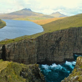 Lake Leitisvatn, the largest lake in the Faroe Islands.
