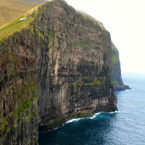 A striking cliff face near the village of Gjógv.